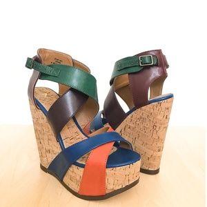 NIB MIA Statuesque Multicolor Wedge Sandals